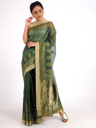 Green Block-printed Chanderi Saree with Zari