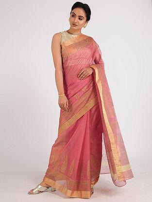 Pink Block-printed Chanderi Saree with Zari