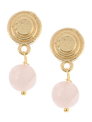 Rose Quartz Gold Tone Brass Earrings
