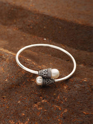 Tribal Silver Cuff with Pearls