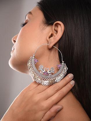 Maroon Tribal Chaandbali Silver Earrings