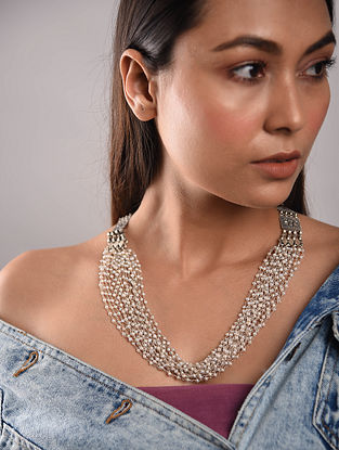 Freshwater Pearl Beaded Silver Necklace