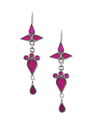 Pink Glass Silver Earrings