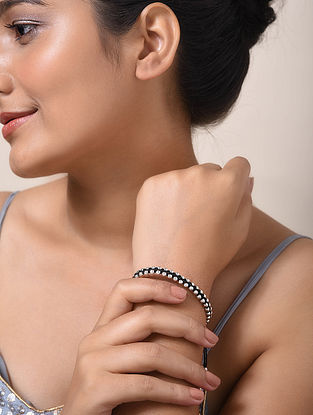 Black Thread Silver Bracelet
