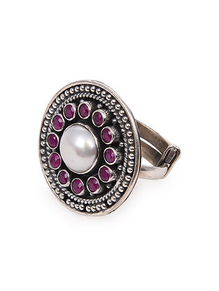 Maroon Tribal Silver Adjustable Ring with Pearl