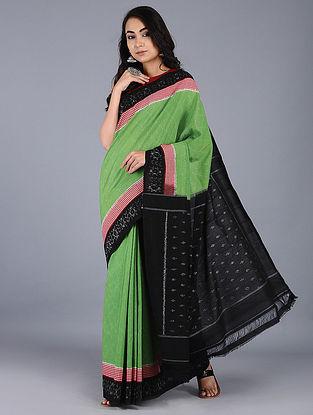 Green-Black Ikat Cotton Saree