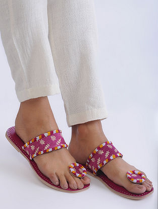 Pink Handcrafted Mashroo and Leather Flats