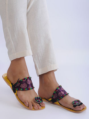 Yellow-Purple Handcrafted Cotton and Leather Flats