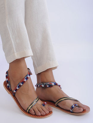 Multicolored Handcrafted Flats with Zari and Torani Belt