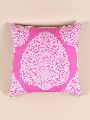 Aiana Pink Cotton and Linen Cushion Cover (16in x 16in)