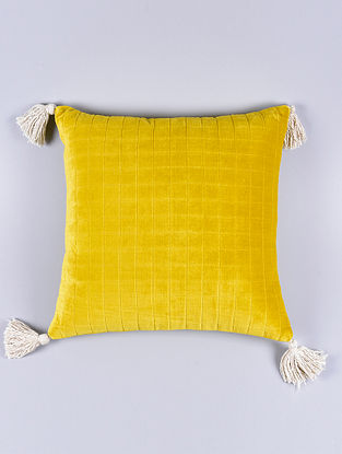 Sal Yellow Cotton Cushion Cover (15.5in x 15.5in)