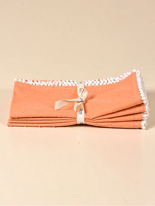 Dot Coral Cotton Napkin (Set of 4) (17.5in x 17.5in)