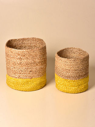 Tau Natural and Yellow Jute Basket (Set of 2)