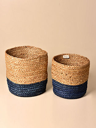 Tau Natural and Navy Blue Jute Basket (Set of 2)