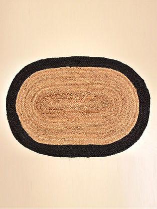 Mia Natural and Black Jute Floormat (31in x 21in)