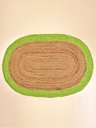 Mia Natural and Green Jute Floormat (32in x 20in)