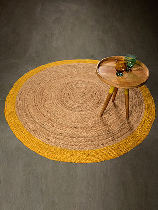 Boden Natural and Yellow Jute Floormat (59.5in x 59.5in)