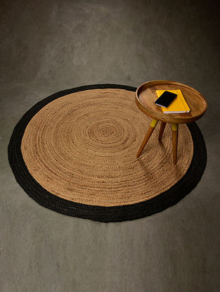 Boden Natural and Black Jute Floormat (58.5in x 58.5in)