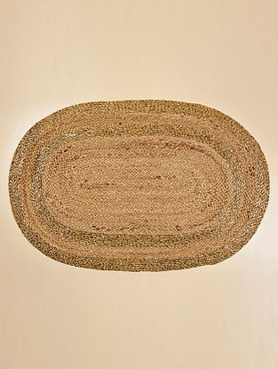 Diara Natural and Gold Jute and Lurex Floormat (30in x 19.5in)