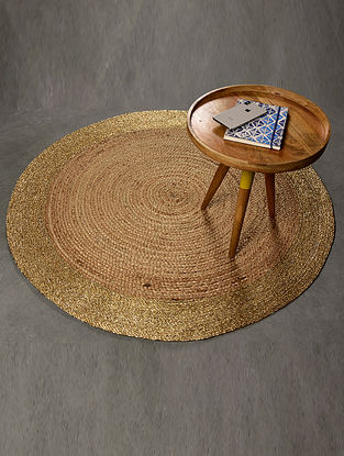 Karina Natural and Gold Jute and Lurex Floormat (47in x 47in)