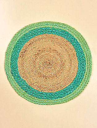Freya Natural and Turquiose Jute Tablemat (Set of 2) (15.5in x 15.5in)