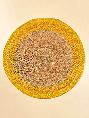 Freya Natural and Yellow Jute Tablemat (Set of 2) (15.5in x 15.5in)