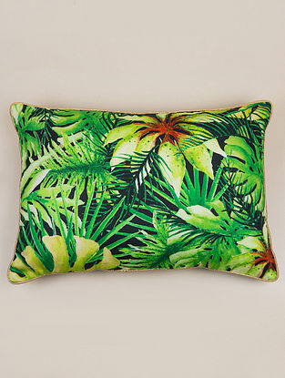 Rio Black and Green Cotton Cushion Cover (20in x 14in)