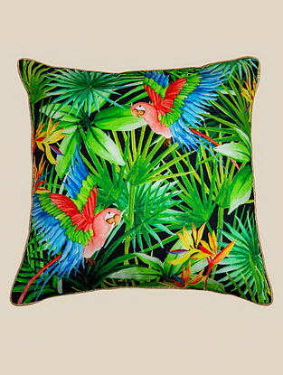 Macaw Green-Multicolor Cotton Cushion Cover (18in x 18in)
