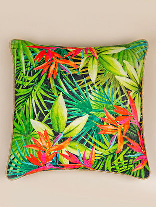 Bird of Paradise Green-Multicolor Cotton Cushion Cover (16in x 16in)