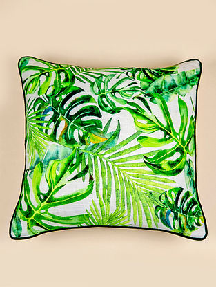 Amazonia Green and White Cotton Cushion Cover (18in x 18in)
