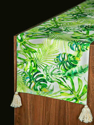 Amazonia Green and White Cotton Table Runner (78in x 14in)