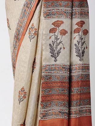Ivory-Red Block-printed Tussar Silk Saree
