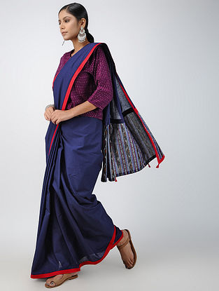 Blue-Red Ikat Constructed Cotton Sareewith Tassels (Set of 2)