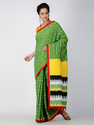 Green-Yellow Ikat Constructed Cotton Sareewith Tassels (Set of 2)
