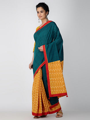Teal-Red Cotton Ikat Constructed Saree with Tassels (Set of 2)