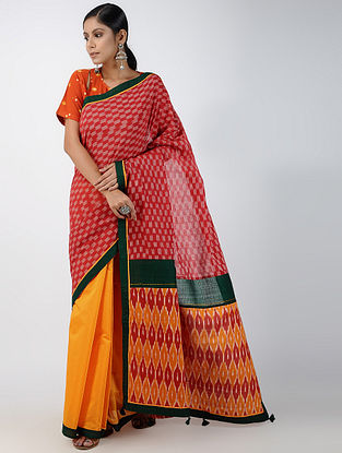 Pink-Yellow Ikat Constructed Chanderi Saree with Tassels (Set of 2)