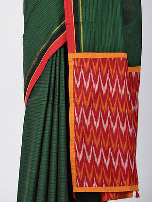 Green-Pink Constructed Cotton Sareewith Tassels (Set of 2)