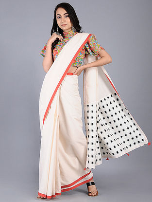 Ivory-Red Constructed Cotton Saree with Tassels (Set of 2)