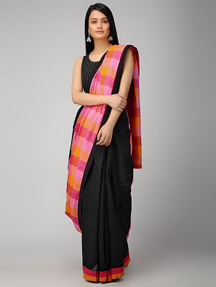 Black-Pink Constructed Cotton Saree with Tassels (Set of 2)