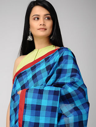 Blue-Black Constructed Cotton Saree with Tassels (Set of 2)