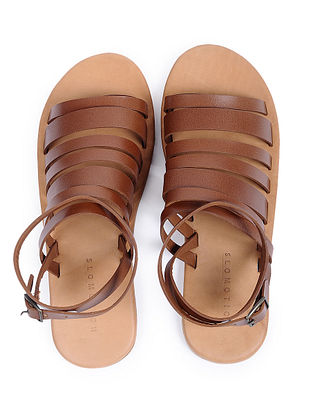 Tan Handcrafted Leather Flats for Women