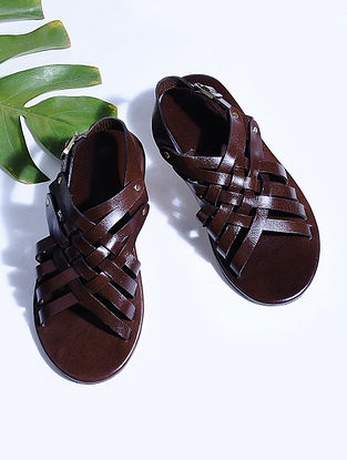 Brown Hand-crafted Criss-cross Leather Flats for Men