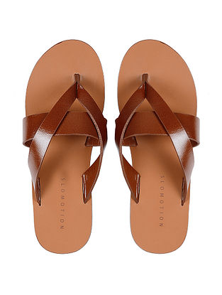 Tan Hand-crafted Multi-strap Leather Flats for Women