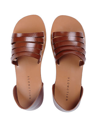 Tan Handcrafted Multi-strap Leather Flats for Women