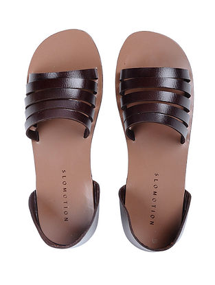 Brown Handcrafted Multi-strap Leather Flats for Women