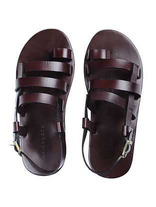 Brown Handcrafted Multi-strap Leather Flats for Men