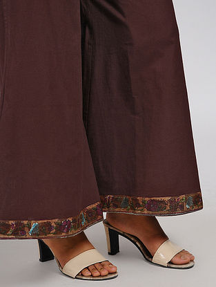 Brown Elasticated Waist Cotton Palazzos