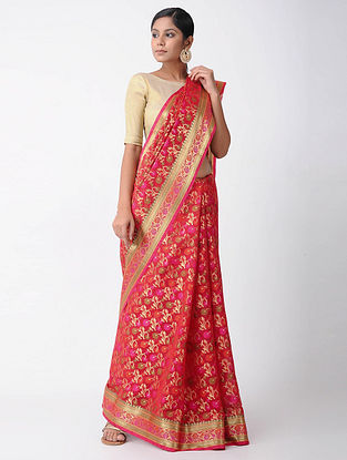 Red-Pink Benarasi Chanderi Saree