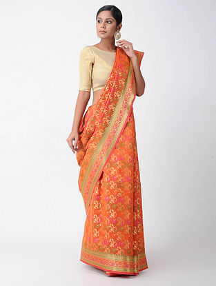 Orange-Pink Benarasi Chanderi Saree