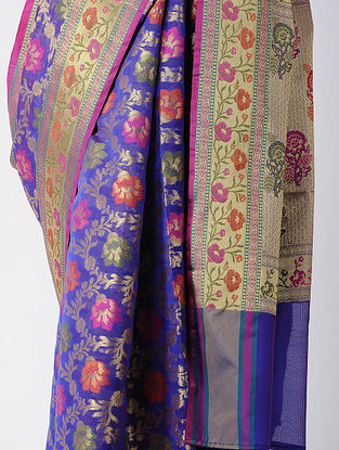 Blue-Pink Benarasi Chanderi Saree